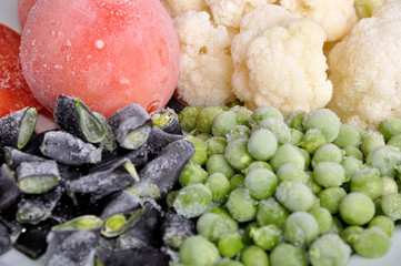frozen tomato, asparagus, peas and cauliflower