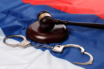 Gavel over russian flag