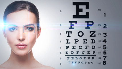 Woman and eye chart