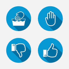 Hand icons. Like and dislike thumb up symbols.