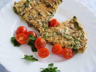savoury omelet as dinner dish