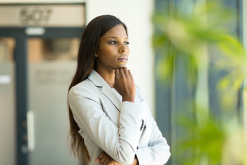 thoughtful afro american business executive