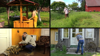 People work various garden jobs in rural farm. Clips collage