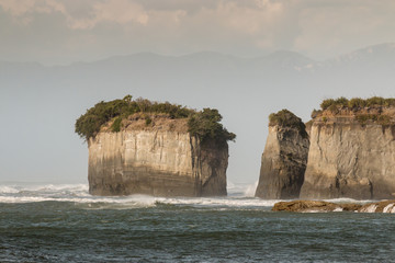 eroded cliffs at Cape Foulwind on West Coast of New Zealand