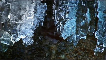 View of Frozen Snow on Water Flowing, Crystal Icicle