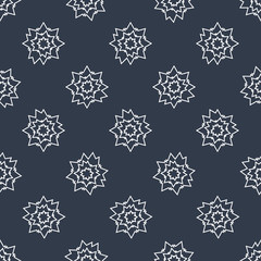 Seamless white stars on black background, vector textile