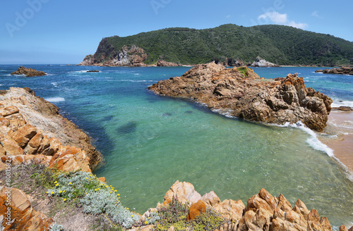 Tuinposter Zuid Afrika The Heads in Knysna where the lagoon enters the sea