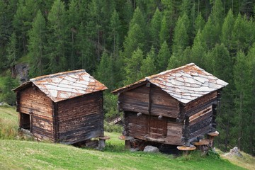 Traditional rural architecture in Zermatt, old timber sheds