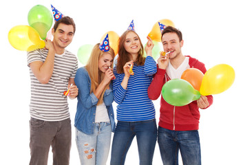 Group of young people having a birthday party