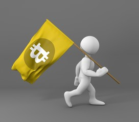 Character holding a bit coin symbol yellow flag 3d illustration
