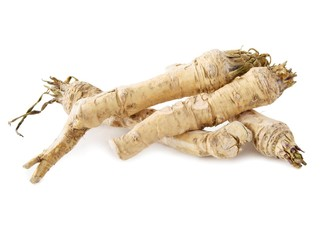 roots of horseradish as spicy vegetable