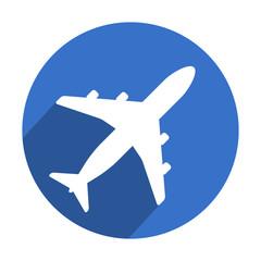 Icono redondo azul avion con sombra