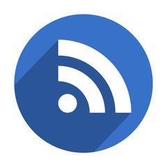 Icono redondo azul RSS con sombra
