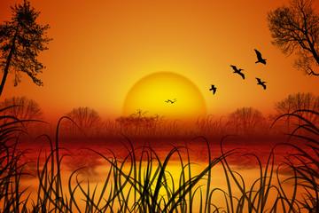 idyllische Landschaft am See mit Sonnenuntergang