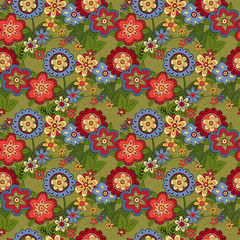 Pattern with different flowers