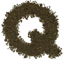 Alphabet of soil. Block capitals. Letter Q