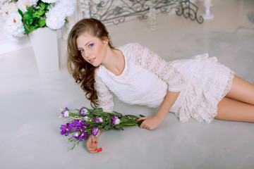 Young spring fashion woman in spring lux vintage interior. Sprin