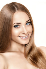 Woman beauty smiling face on white background. Girl close up por