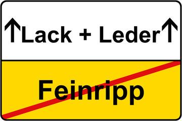 Feinripp Lack & Leder Schild