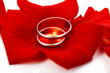 Wedding concept for invitation card. wedding rings in petals of
