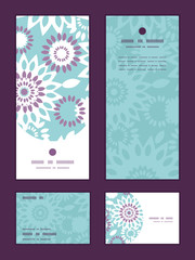 Vector purple and blue floral abstract vertical frame pattern