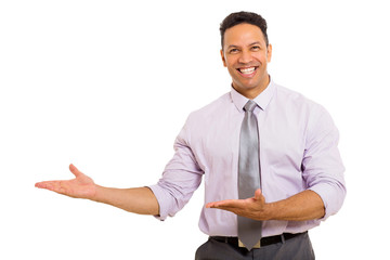 middle aged man presenting empty space