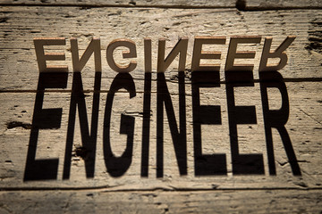 Wooden letters build the word engineer