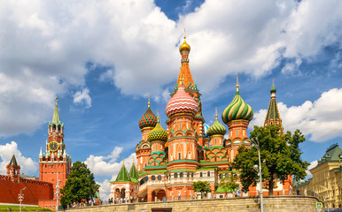 St. Basil`s Cathedral with Kremlin, Moscow