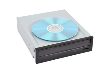 CD-rom drive and compact disk, isolated on white background