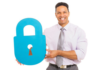middle aged man presenting padlock