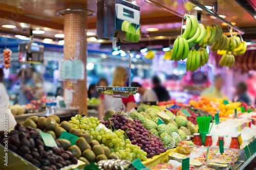 Keuken foto achterwand Boodschappen fruits on spanish market counter