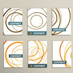 Six vector pattern with abstract circle brochures