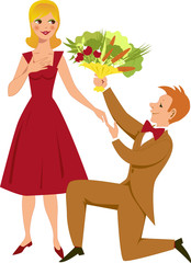 Young man gives young woman a bouquet of vegetables