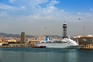 Ship near Main building of Port Vell. Barcelona