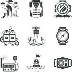 Marine black icons