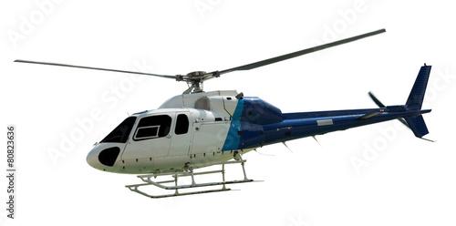Leinwandbild Motiv Travel helicopter with working propeller