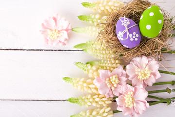 Easter eggs in a bird's nest
