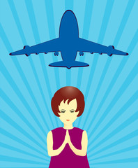 Girl pray for missing airplane in vector format