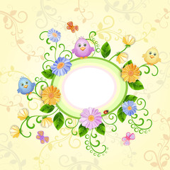 Spring illustration with beautiful flowers .