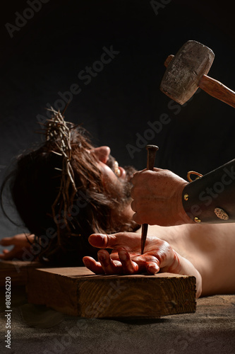 Jesus Being Nailed to the Cross - 80826220