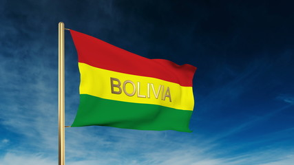 Bolivia flag slider style with title. Waving in the wind with