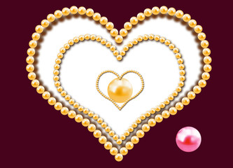Three hearts from pearls
