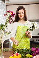 Girl making  beautiful bouquet