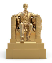 Abraham Lincoln Golden Statue.