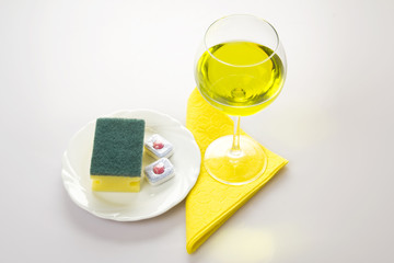 Cleaning Agents In The Plate and Wine Glass