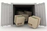 Container with boxes. 3d illustration on white background