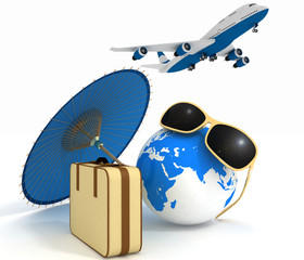 3d suitcase, globe and airplane. Travel and vacation concept