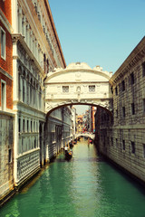 Venice. Gondolas passing over Bridge of Sighs