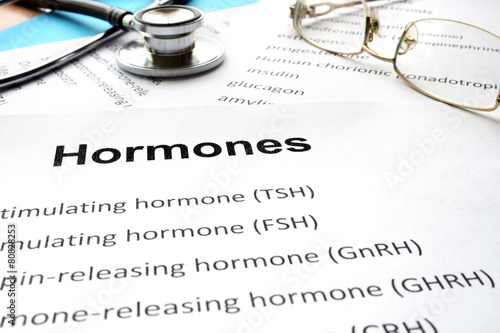 Papers with hormones list and word hormones.