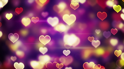 glowing heart shapes bokeh lights loopable background